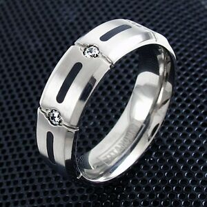 CLOSEOUT! Titanium Men's 0.15 Carat Multi CZ Wedding Band Ring Size 9-13