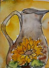 Original ACEO or ATC watercolor - Pitcher with Sunflower