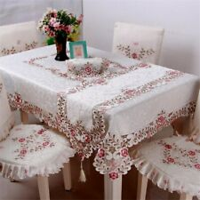 Polyester Embroidery Floral Tablecloth Hotel Home Wedding Party Use Home Textile