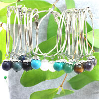 Silver Plated 45 mmThin Hoop Earrings With Dangling Gemstone 8 mm.