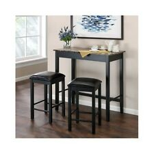 Pub Dining Set Kitchen Bistro Table Stool Bar 3 Pc Faux Marble Top Counter Black