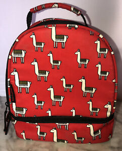 TECHGEAR Kids Insulated Animal Red Llama School Lunchbox Bag Can Food Container