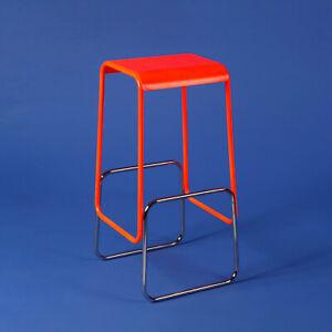 Fluorescent Orange and Chrome Bar Stool, Prototype, Geometric Design