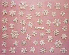 Christmas Matte Pretty White Snowflakes Reindeers Nail Art Stickers Decals (60)