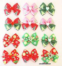 14 CHRISTMAS THEME Handmade Girl Hair Accessories Ribbon Bows Clips Free P&P