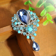 Gorgeous Rhinestone Brooch Pin Drop Pendant Dress Up Party Wedding Bride Jewelry