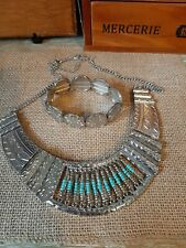 Silvertone And Turquoise Collar Necklace And Bracelet