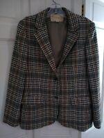 Vintage John Meyer women's size 14 wool jacket lined tan/black/cream/grey plaid