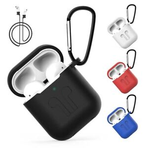 Apple Airpods silicone case, keychain loop, earphone strap, ear wing carry UK