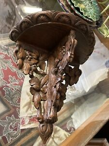 Antique French Demi Lune Carved Wall Shelf
