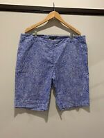 Sportscraft blue and with shite spot shorts size 18, EUC.