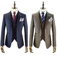 Cavani New Martez 3 Piece Suits Herringbone Regular Fit Wedding Blue Brown BNWT