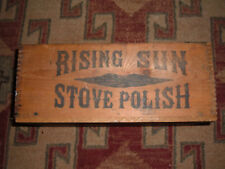 Antique Rising Sun Stove Polish Wooden Finger Jointed Shipping Box Crate