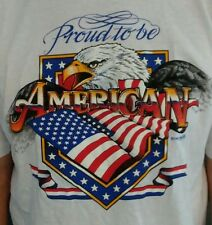 """PROUD TO BE AN AMERICAN"" EAGLE FLAG PATRIOTIC T-SHIRT SIZE XL MADE IN THE USA"