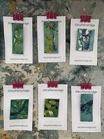 Handmade Gelatin Print Badge Pin Jewellery Original Artwork Stacylhenstridge