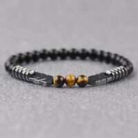 Men Women Natural Matte Onyx Bead Hematite Arrow Tiger Eye Stone Energy Bracelet