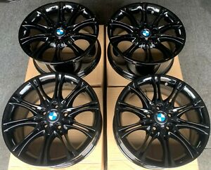 "Genuine BMW MV2 18"" Alloy Wheels: GLOSS BLACK E81 E82 E87 E88 F20 F21: 1 SERIES"