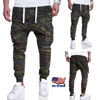 Mens Camo Skinny Jeans Trousers Biker Camouflage Denim Casual Joggers Pants Size