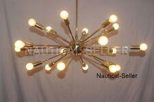 Mid Century Modern Polished Brass, Sputnik Chandelier light fixture 18 Lights