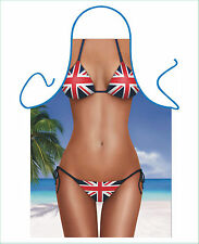 WOMEN'S FUN SEXY NOVELTY APRON,BRITISH UNION JACK BIKINI, KITCHEN OR BBQ APRON