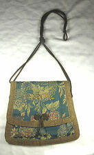 Vintage Oriental Silk Purse Shoulder Bag with Goldtone Metal Braid trim