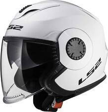 LS2 casco JET moto 570 VERSO tg.XS doppia VISIERA bianco LUCIDO lega KPA nuovo