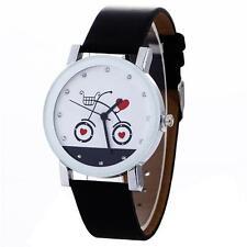 Casual Women Leather Band Quartz Watch Fashion Cute Cat Bike Analog Wristwatch