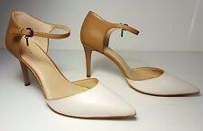 $165 size 10 Coach Seline Chalk / Walnut Leather Ankle Strap Heels Pumps Shoes
