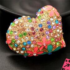 Betsey Johnson Charm Brooch Pin Multicolor Enamel Rhinestone Flower Heart Love