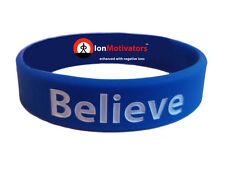 BELIEVE (Blue) Wristband Motivational Inspirational Ionic Tourmaline Neg Ion