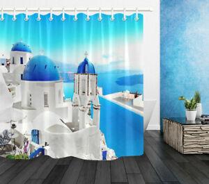"72x72"" Santorini Blue Top Church Waterproof Fabric Shower Curtain Bathroom Hooks"