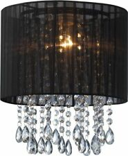 Black Organza & Hanging Beaded Ceiling Lampshade