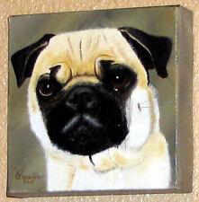 Animal=DOG=PUG= Originial oil painting by O.Barella