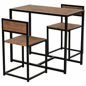 Industrial Style Dining Furniture Set Wooden Table Bar Stool Chair Compact Brown