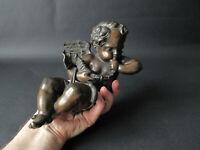 Putto en bronze soufflant dans une conque angelot musicien conch XIXe siècle