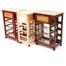 carrello porta pane portabottiglie da cucina in legno con cesti acciaio