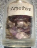 1 x 5 MM BOTTLE OF SMALL  GEMSTONES AMETHYST WITH CORK STOPPER