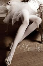BALLERINA Luxury Sheer Bridal Hold Ups Lace tops White 007 embroidery wedding