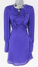 Stunning Reiss Blue Frill Long Sleeved Silk Evening Occasion Dress Size 10