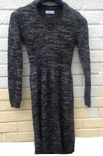 CALVIN KLEIN Knitted Jumper Dress XS Black White (Grey)