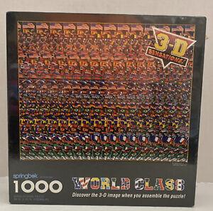 Springbok 1000 Pc World Class Soccer 3-D Stereogram Puzzle Hallmark Sealed NEW