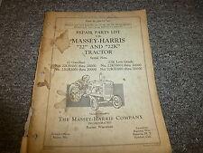Massey Harris 22 & 22K Row Crop Tractor Part Catalog Manual Book