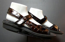 Women's 1803 Portugal Faux-Croc Patent Leather Slingback Sandal Sz. 40/9.5 MINTY