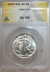 1943 Walking Liberty half dollar ANACS AU58