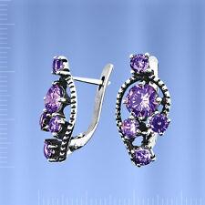 Russische Silberschmuck  925 Ohrringe mit Amethyst SO15068