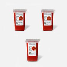 3 X Sharps Container 1 Quart Biohazard Needle Disposal 1 Qt Size Free Ship