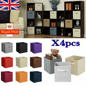 4pc Foldable Canvas Storage Collapsible Folding Box Fabric Cube Cloth Basket Bag