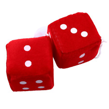 Brand New Red Plush Fuzzy Mirror Dice w/ White Dots Car Auto Accessories Fashion
