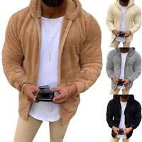 Men Winter Fluffy Thick Hoodie Coat Fleece Fur Hooded Jacket Warm Sweatshirt Top
