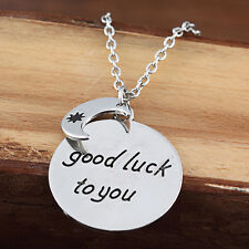 """Silver Plt """"Good Luck To You"""" Best Wishes Pendant Necklace Party Birthday Gift"""